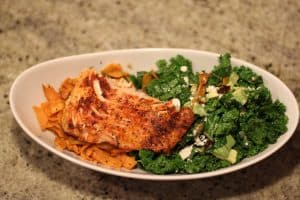 BroiledBroiled Salmon with Kale Salad and Sweet Potato Fries Salmon - Today served with a simple kale salad and sweet potato fries.
