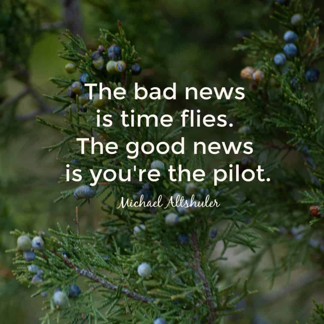 The bad news is time flies. The good news is you're pilot. - Michael Altshuler