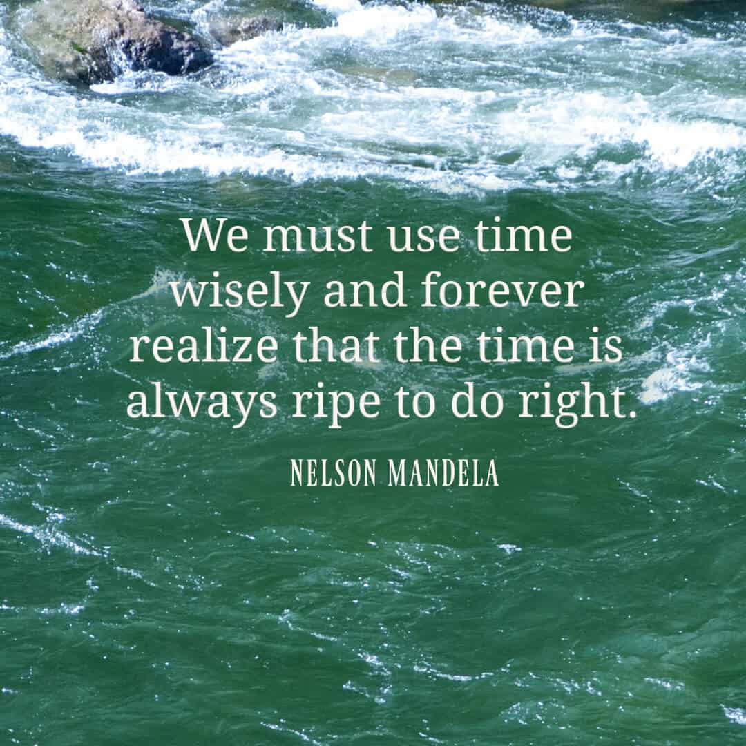 We must use time wisely and forever realize that the time is always ripe to do right. Nelson Mandela