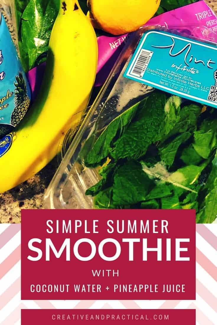 Simple Summer Smoothie with Trader Joe's Coconut Water with Pineapple Juice