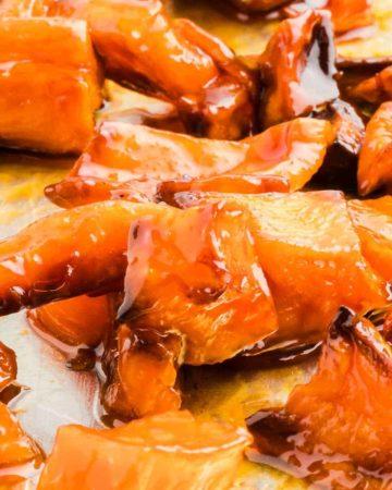 Perfectly honey roasted sweet potatoes