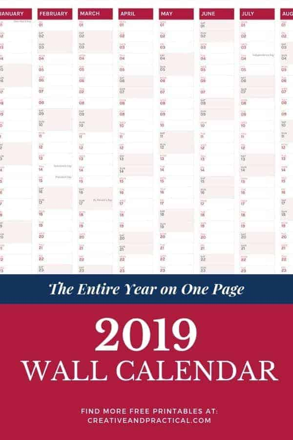 The Best 2019 Content Calendar - The entire year on one page. Learn how to print the 2019 calendar.