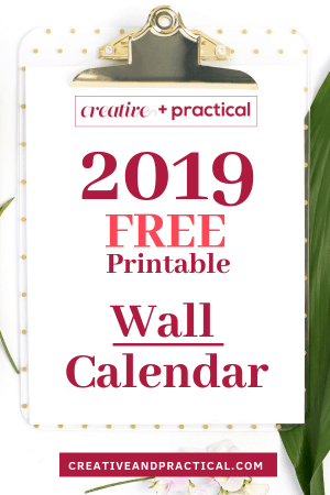 Print the 2019 Wall Calendar - an entire year on one page!