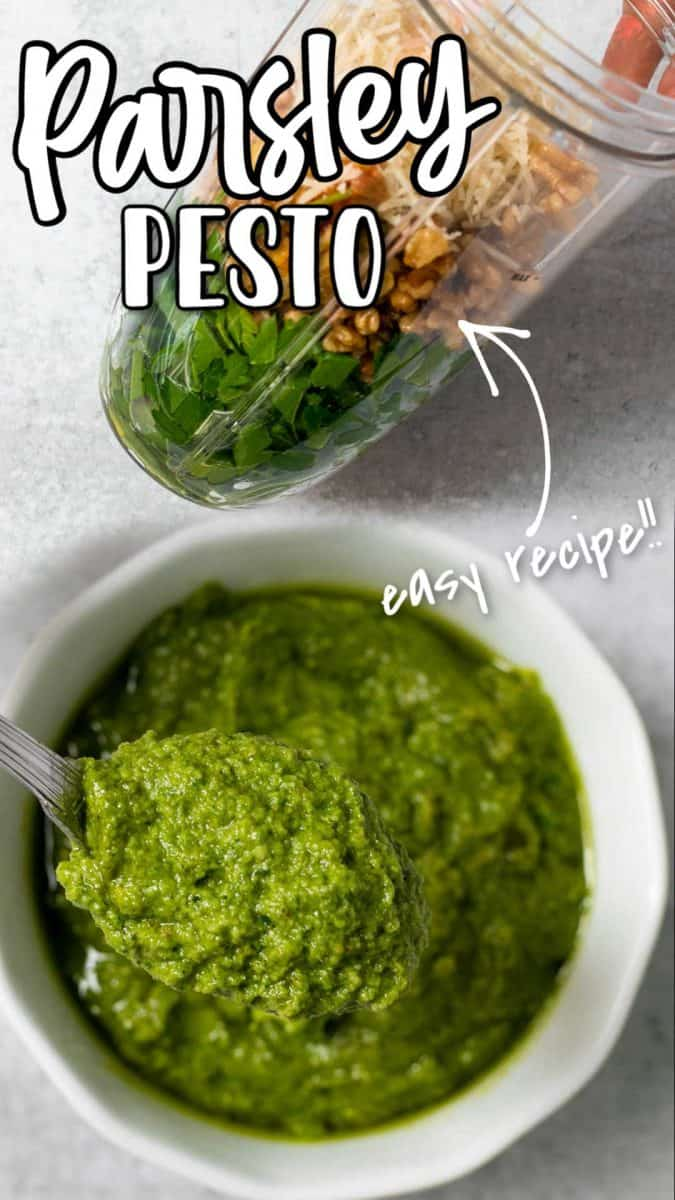 Creamy and slightly milder than basil pesto. You can make this pesto in about 5 minutes. Perfect for dips, pasta, dressings, bruschetta, flatbread, and so many other dishes.