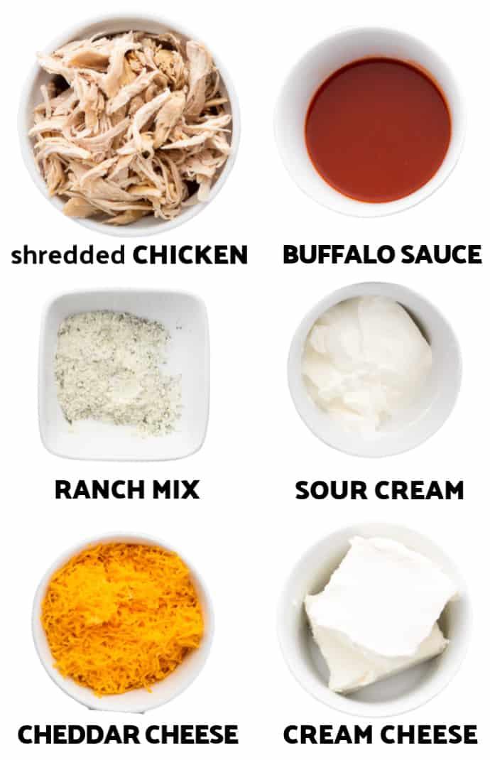 Ingredients to make Franks Buffalo Chicken Dip