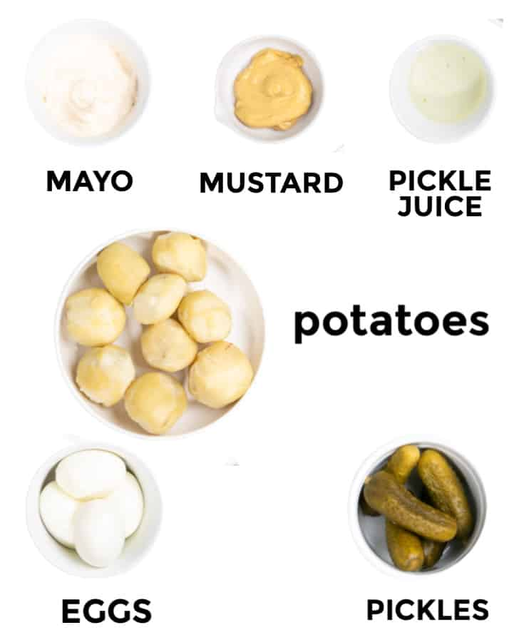 Ingredients for the German Potato Salad: Mayonnaise, Mustard, Pickle Juice, Potatoes, Eggs, Pickles