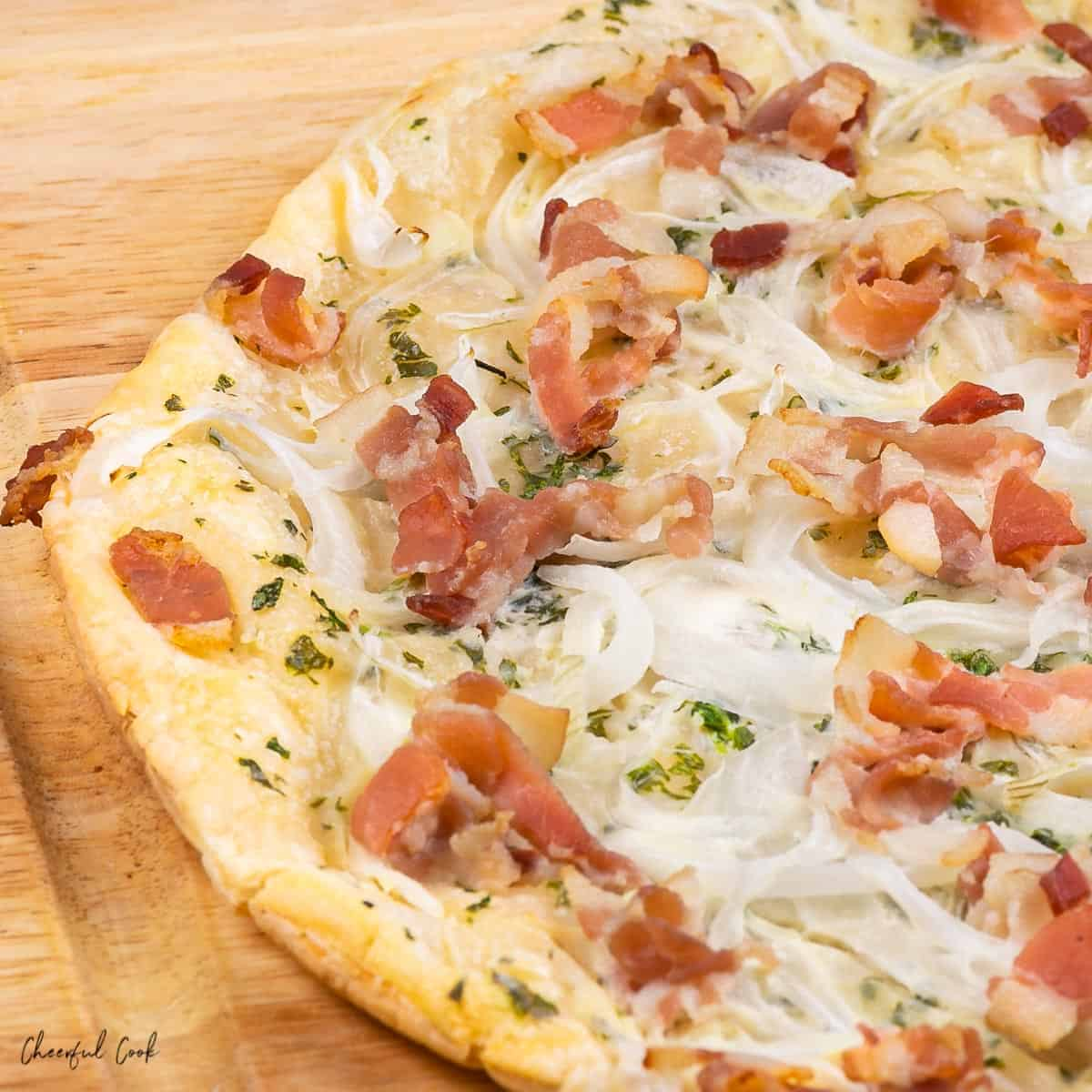Cheesy, hot German Flammkuchen