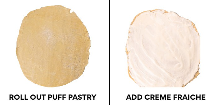 Left: Roll out the dough - Right: Add Creme Fraiche