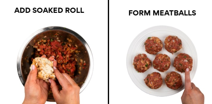Left: Add Moistened bread roll to the meat mixture - Right: Form Meat Patties.