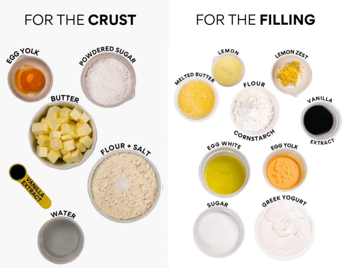 Ingredients to Make German Cheesecake (Käsekuchen) Left: Ingredients to Make The Crust - Right: Ingredients To Make the Filling