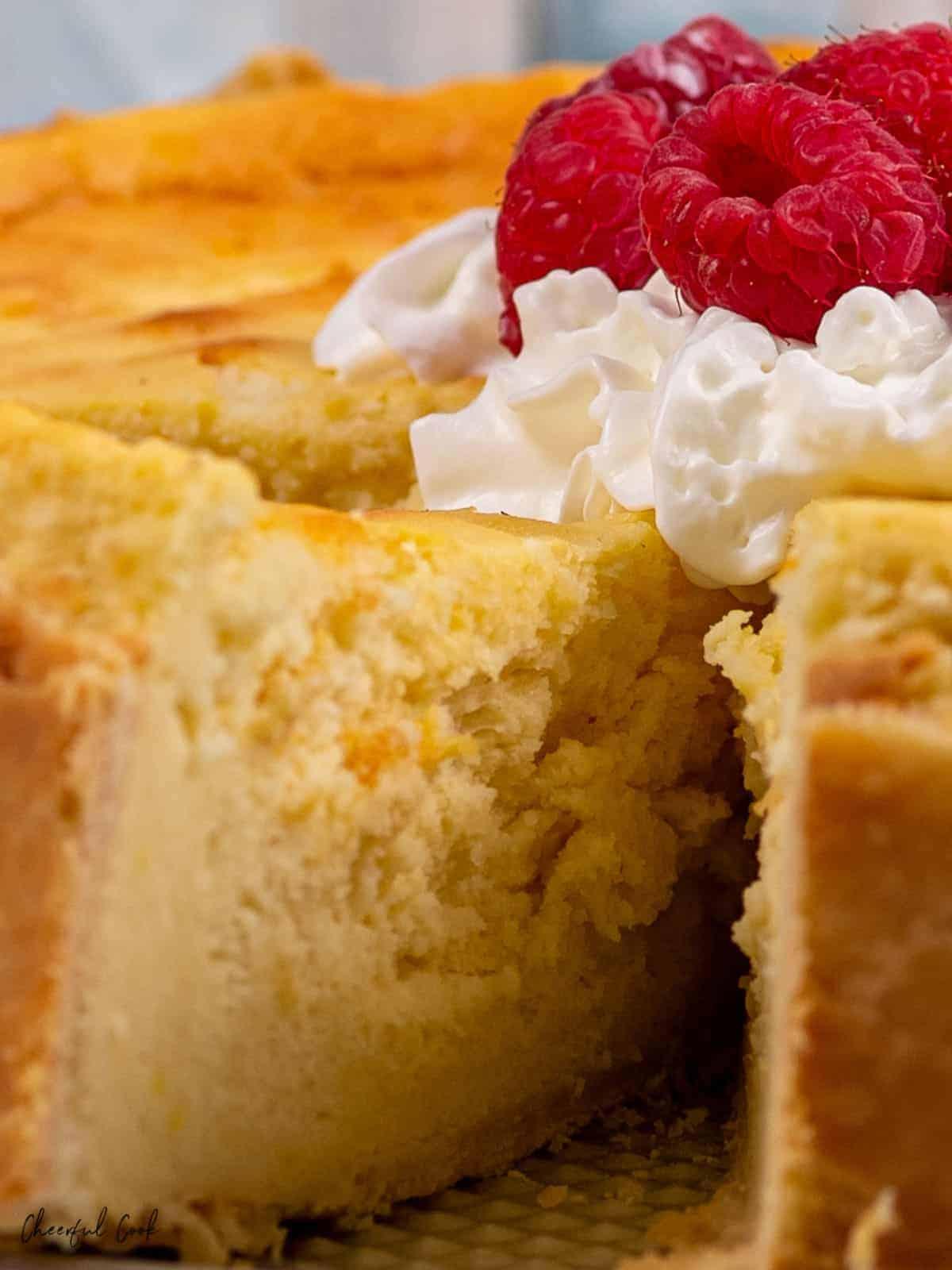 Getting a slice of German Cheesecake also known als Käsekuchen