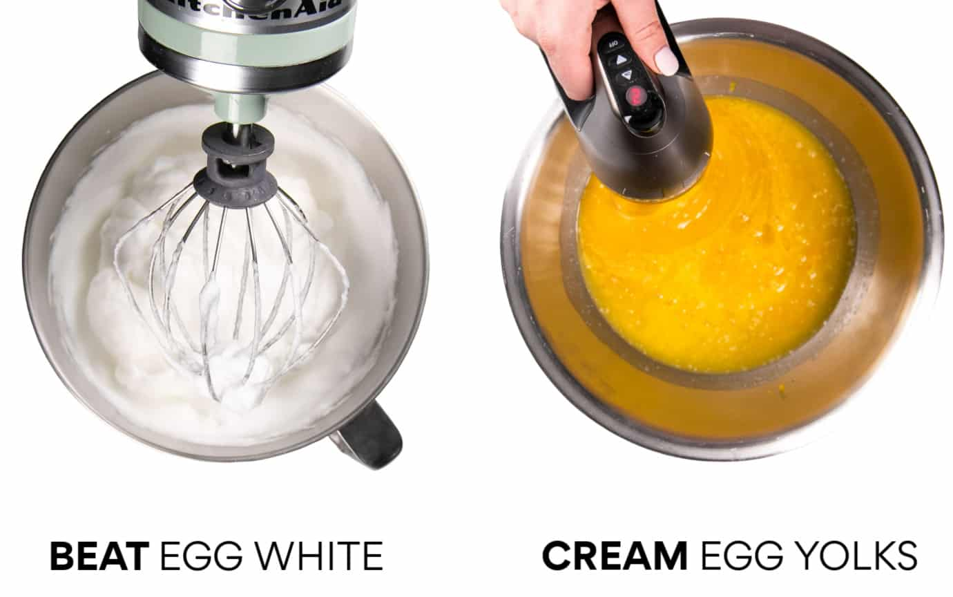 Left: Beat Egg Whites - Right: Cream Egg Yolks