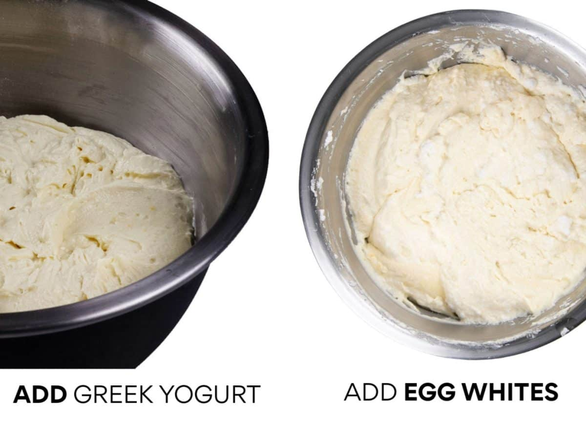 Left: Add Greek Yogurt - Right: Add Egg Whites