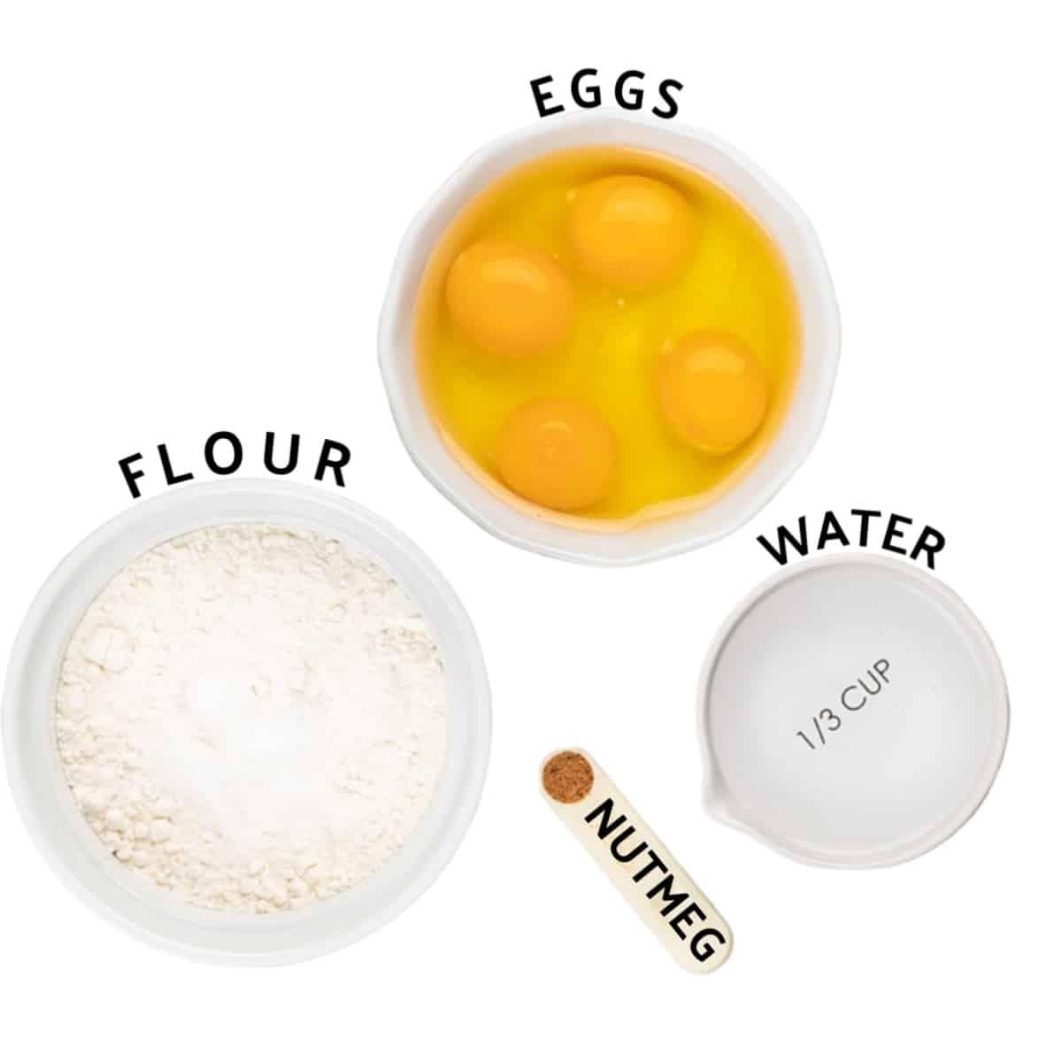 Ingredients needed to make German spaetzle (egg noodles)