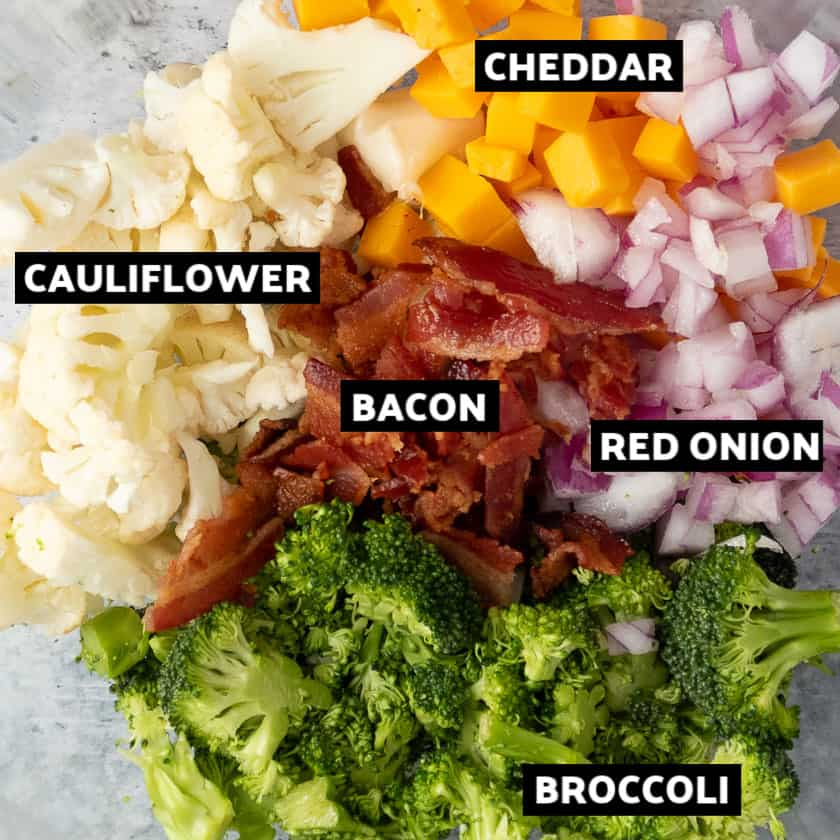 Ingredients to make the Broccoli Cauliflower Salad