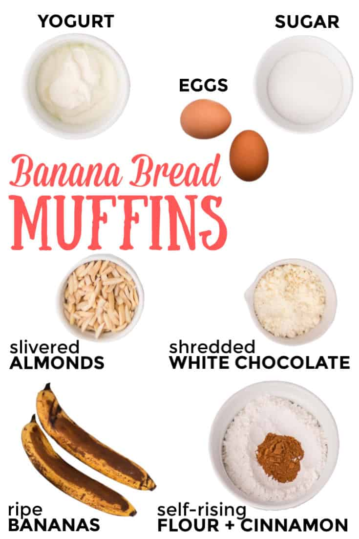 Ingredients need to make Banana Bread Muffins