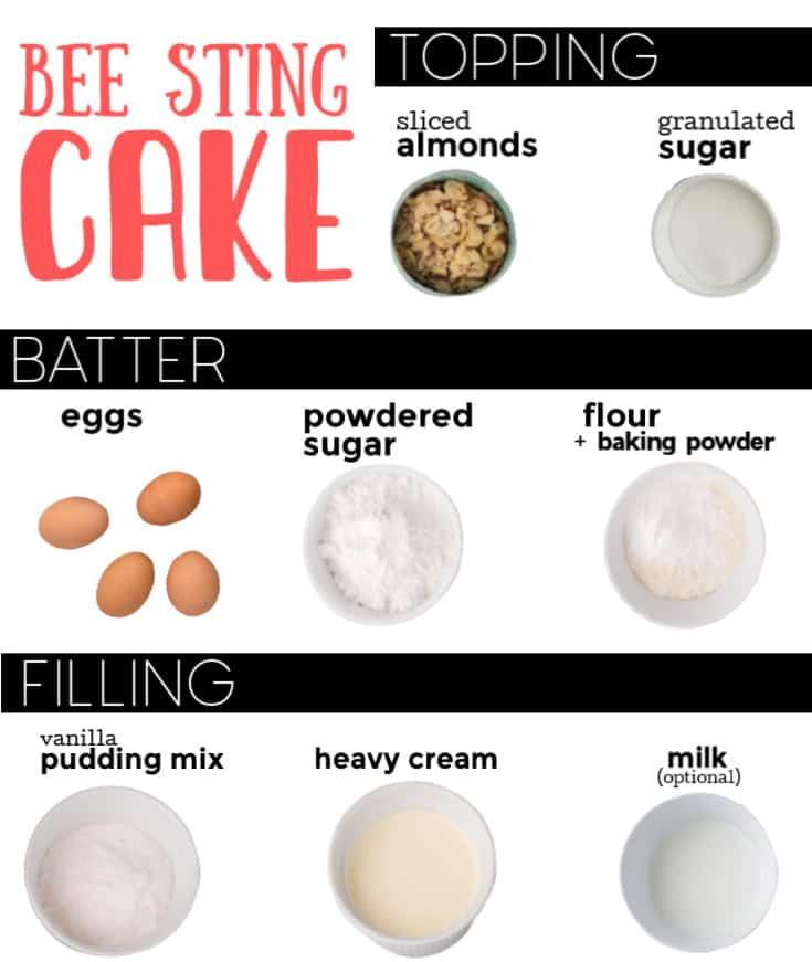 Ingredients needed to make bee sting cake