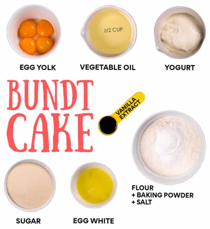 Ingredients needed to make this German Bundt Cake (Sandkuchen)
