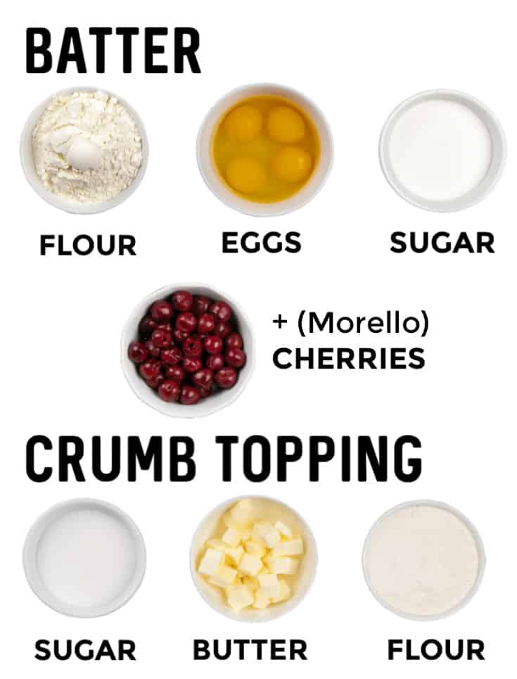 Ingredients needed to make the Cherry Crumble