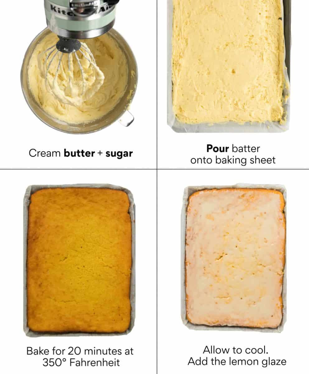 Steps showing how to pour the batter, bake and glaze the lemon pound cake
