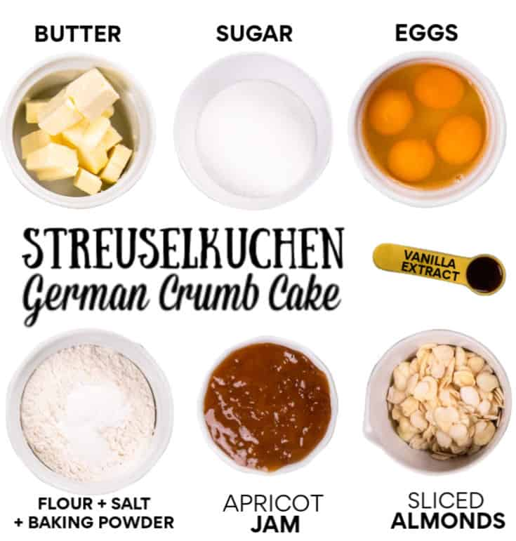 Ingredients for the Streuselkuchen (German Crumb Cake)