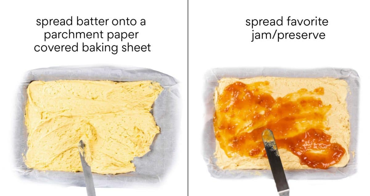 Instructions how to first add the batter on the baking sheet followed by topping it with jam or preservative