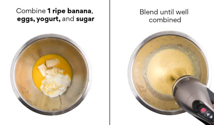 Add eggs, yogurt, sugar, and one ripe banana, beat until creamy