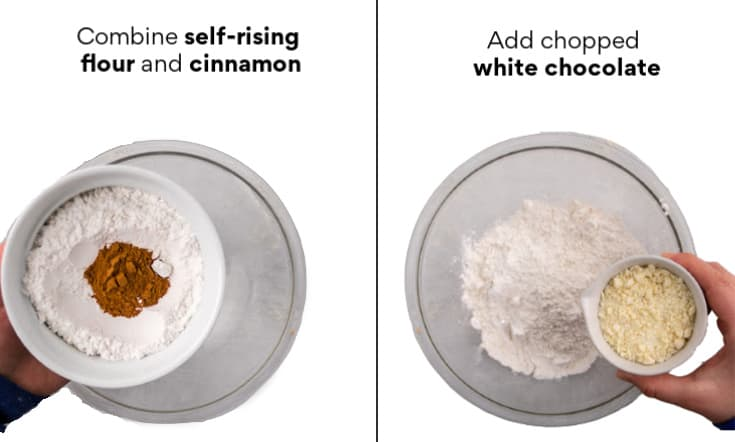 combine self-rising flour, cinnamon, and white chocolate