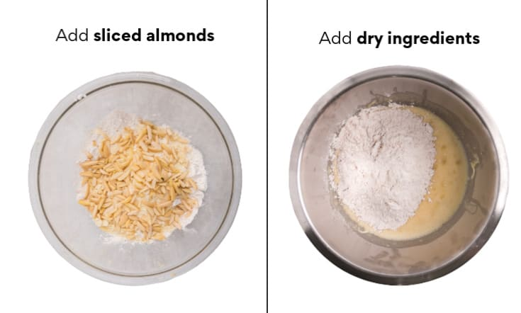combine sliced almonds with the dry ingredients