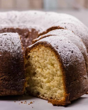 Freshly baked German bundt cake