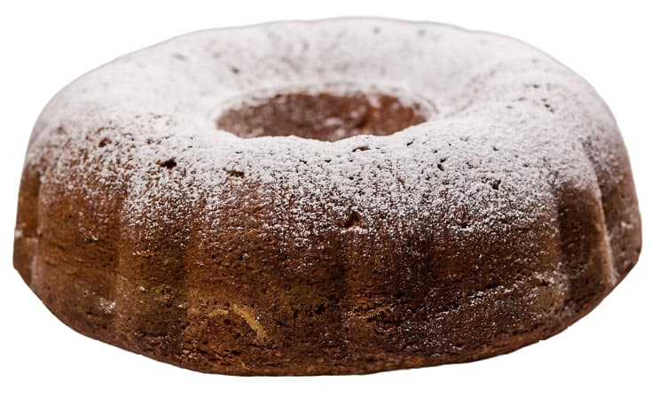 A closeup of the freshly baked Bundt Cake dusted with powdered sugar.