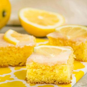 Slices of freshly baked and glazed German lemon cake (Zitronenkuchen)