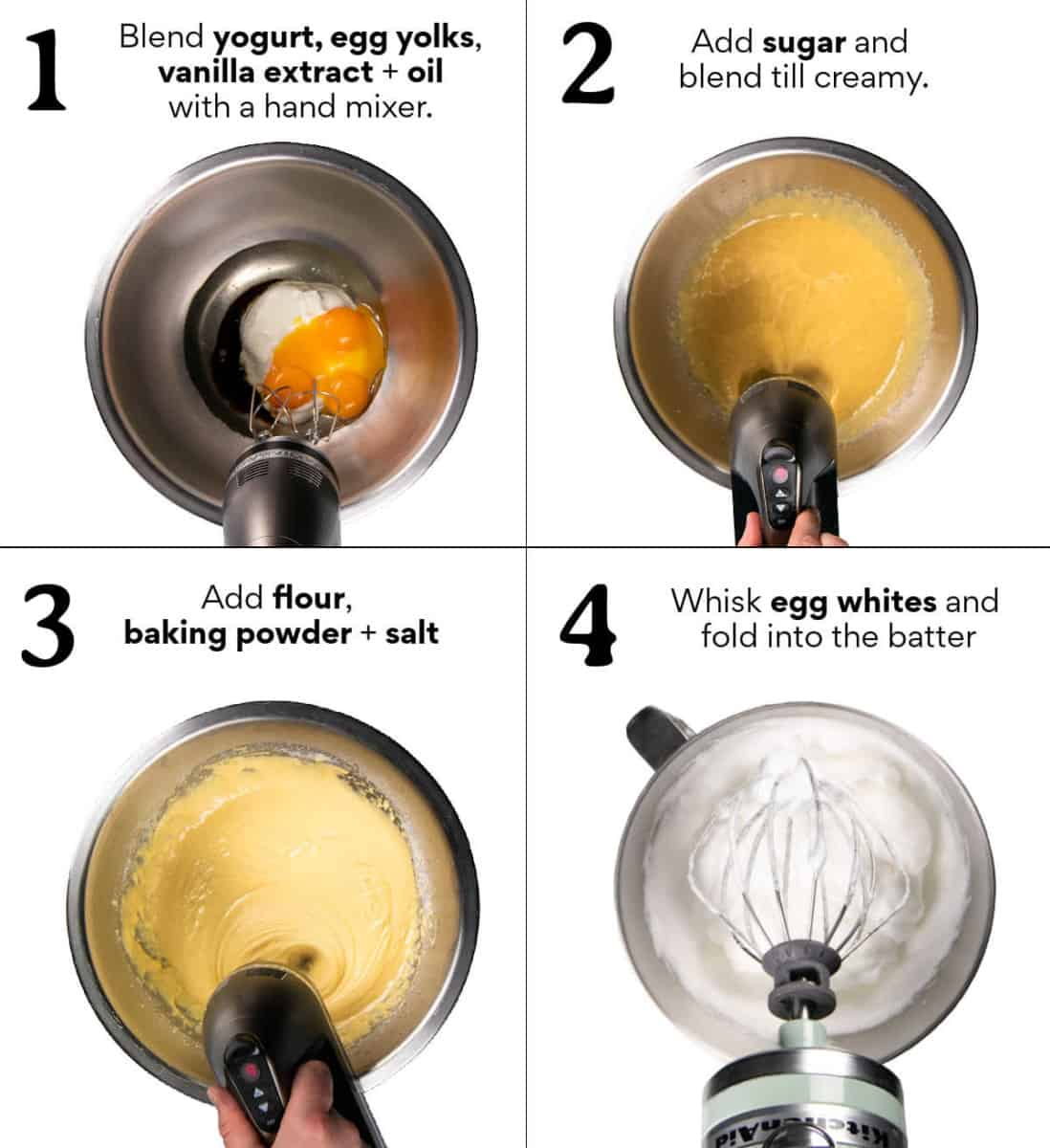 Step-by-step instructions how to make the batter for this bundt cake recipe