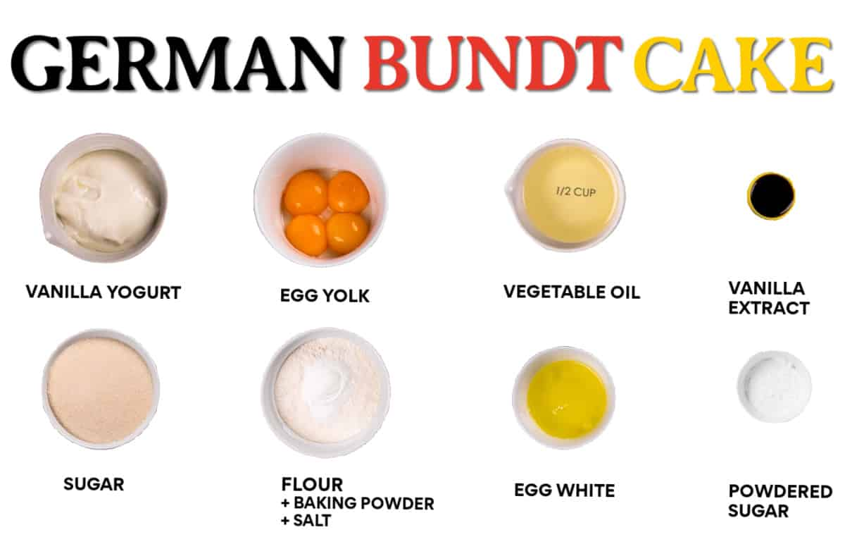 Ingredients needed to make an easy and moist bundt cake