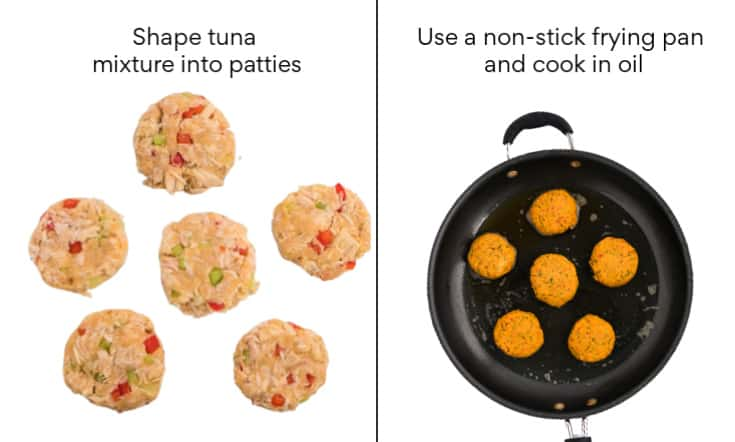 Step 3: shape tuna mixture into patties Step 4: use a non-stick frying pan and cook in oil