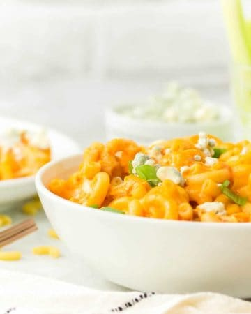 a bowl of freshly cooked Buffalo Chicken Mac and Cheese