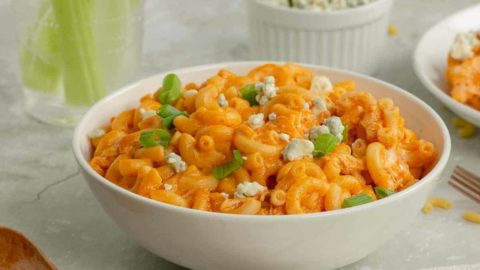 A bowl of creamy Buffalo Chicken Mac and CheeseMac and cheese