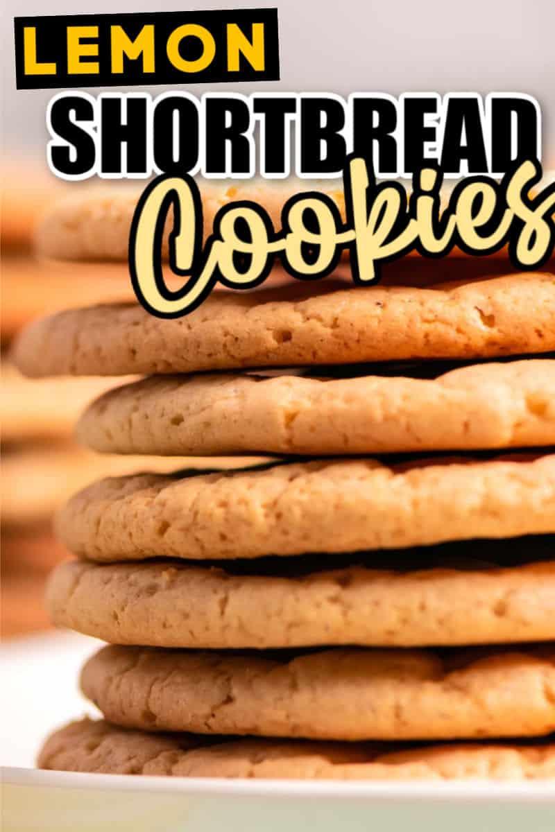 a stack of freshly baked lemon shortbread cookies