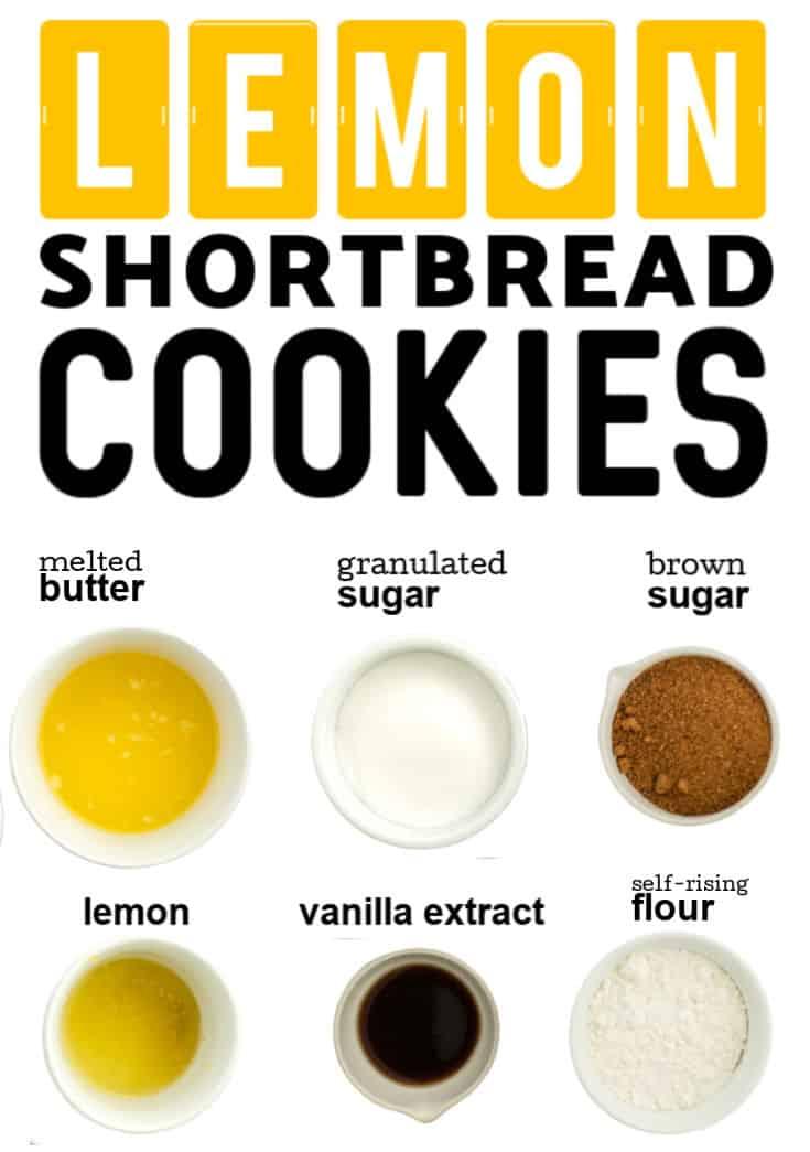 Ingredients needed to make lemon shortbread cookies