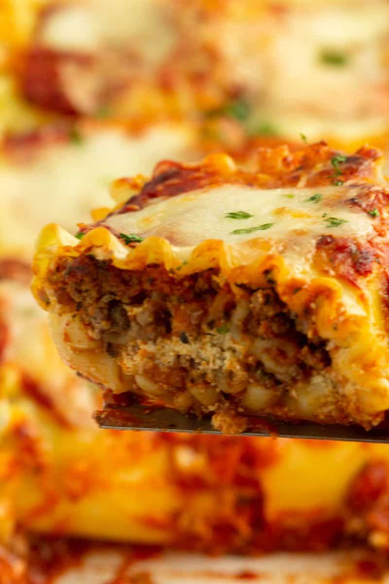 A closeup image of one serving of freshly baked lasagna