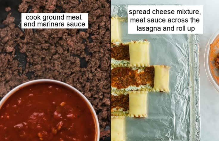 Left: showing the meat pasta sauce and Right showing how to make the lasagna roll ups