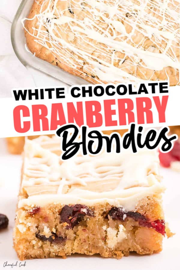 Easy White Chocolate and Cranberry Blondies