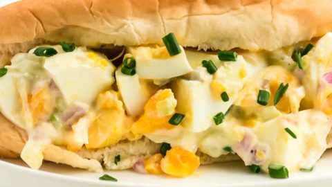 a closeup of classic egg salad in a bread bun on a white plate