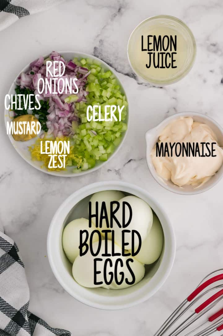 Ingredients needed to make egg salad: boiled eggs, mayonnaise, lemmon juice, lemon zest, red onion, celery, mustard