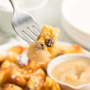 Closeup of a forkful of Kaiserschmarrn