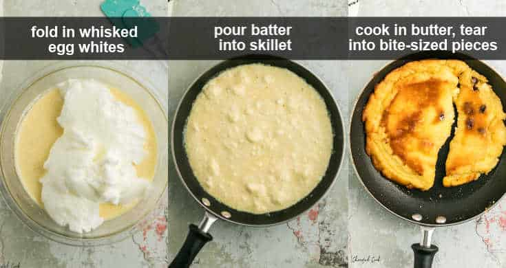 steps how to finish the batter and cook the pancake in the skillet