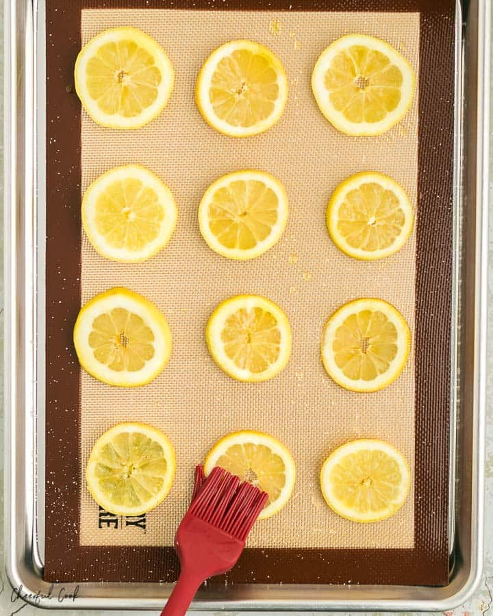 lemon on a baking sheet brushed with olive oil