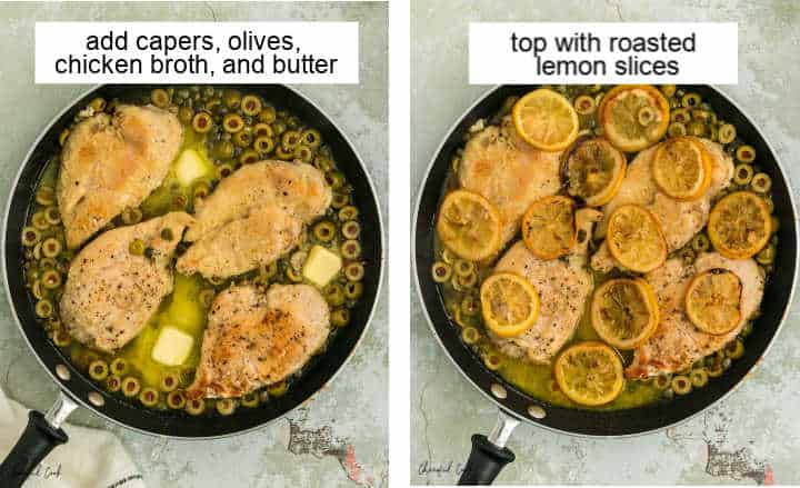 Steps illustrating how to make the caper and olive butter sauce and also how to add the roasted lemon slices