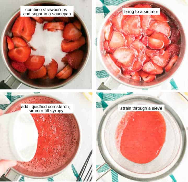 Steps showing how to make the strawberry glaze for the no bake strawberry cheesecake