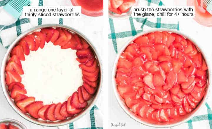 Topping the cheesecake with fresh strawberries and adding the strawberry glaze
